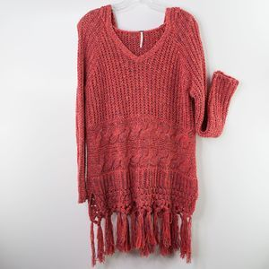 FREE PEOPLE Santa Rosa Hooded Fringe Sweater Small